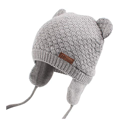 XIAOHAWANG Baby Hat Cute Bear Winter Toddler Earflap Beanie Warm Infant Knit Caps Cotton Lining(Grey, S(0-7 Months))
