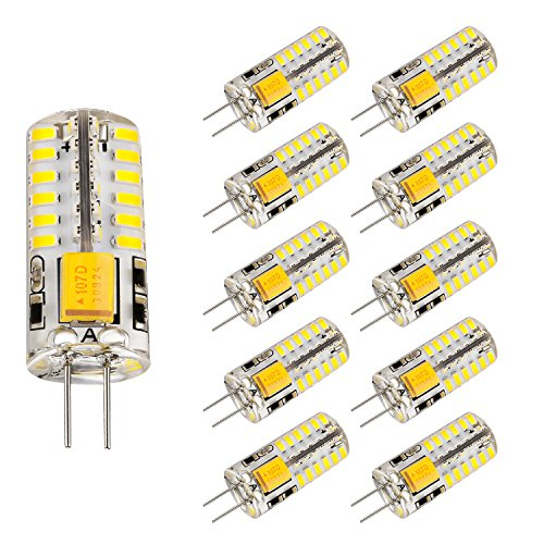 Bogao 10pcs Set G4 48 SMD LED White 220LM Light Crystal Bulb Lamps 3 Watt AC/DC 12V Equivalent to 20W Incandescent Bulb Replacement Halogen Bulbs 6000K