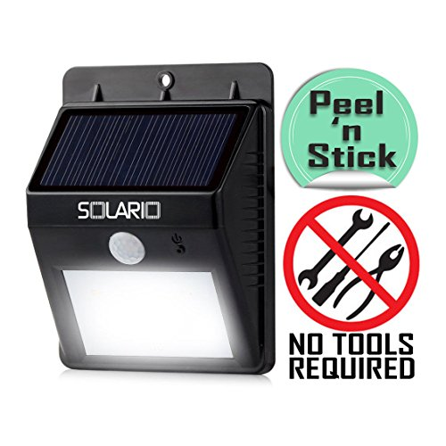 Solario Bright Solar Powered Wireless Outdoor LED Security Floodlights- 80 Lumen- No Tools Required Peel and Stick- Motion Activated- Black