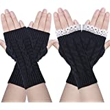 Chalier 2 Pairs Womens Winter Knit Fingerless Arm Warmers Gloves with Thumb Hole, Black, One Size