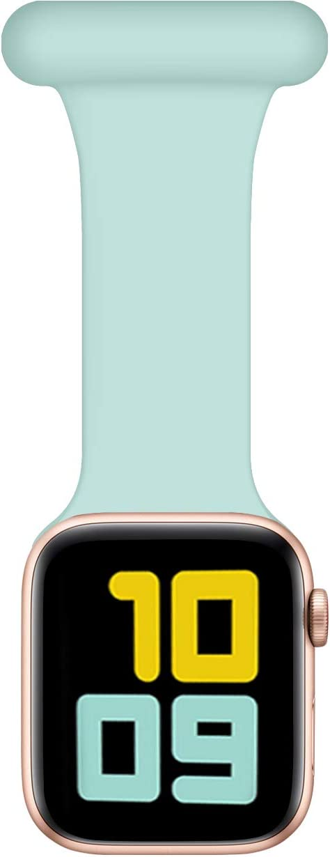 Wepro Band Fob Compatible with Apple Watch 40mm 38mm for Nurses Midwives Doctors Hikers, Infection Control Design Silicone Pin Fob Compatible with iWatch Series SE/6/5/4/3/2/1, Mint