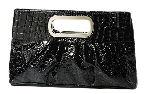 Glossy Patent Leather Casual Evening Clutch Purse with Metal Grip Handle - Black ()