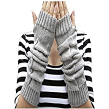 Super Fingerless Mittens,FuzzyGreen Fingerless Mittens Women Lady Girl Crochet Knitting Wool Thermal Square Pattern Arm Warm Mitten Fingerless Long Gloves-Light Gray