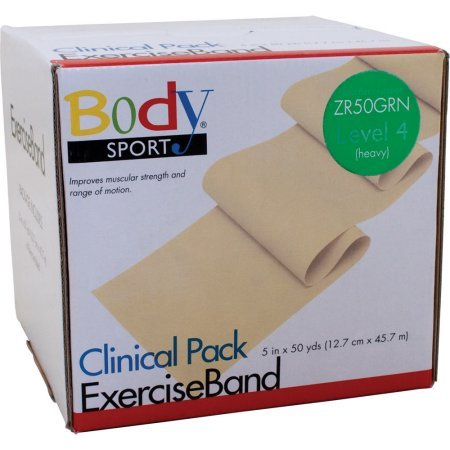 """Body Sport Exercise Bands 50-Yd. Rolls Green Heavy 5"""" Wide"""