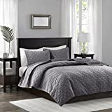 Madison Park Harper Velvet Full/Queen Size Quilt Bedding Set - Grey, Geometric – 3 Piece Bedding Quilt Coverlets – Velvet With 90% Cotton Filling Bed Quilts Quilted Coverlet