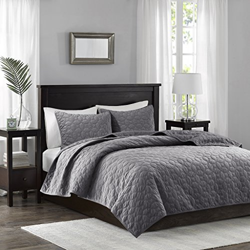 Texture Cotton Quilt Fabric - Madison Park Harper Velvet King/Cal King Size Quilt Bedding Set - Grey, Geometric – 3 Piece Bedding Quilt Coverlets – Velvet with 90% Cotton Filling Bed Quilts Quilted Coverlet