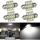 Partsam 4pcs 31mm Festoon 12SMD LED Interior Dome Map Lights 3022 3021 DE3022 DE3175, White