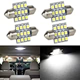 #10: Partsam 4pcs 31mm Festoon 12SMD LED Interior Dome Map Lights 3022 3021 DE3022 DE3175, White