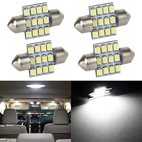 Partsam 4pcs 31mm Festoon 12SMD LED Interior Dome Map Lights 3022 3021 DE3022 DE3175, White