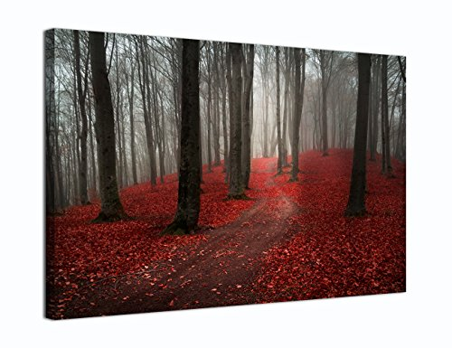 Yatsen Bridge Modern Large Tree Painting, Black White Red Forest Landscape Canvas Wall Art Posters and Prints Pictures for Living Room Stretched Ready to Hang (20WX30L, P2) (Pictures Trees Of)