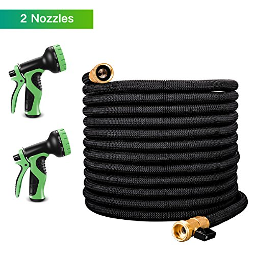 LATME 100ft Garden Hose Upgraded Expandable Water Hose Set with Double Latex Core 3/4 Solid Brass Fittings Extra Strength Fabric 9 Function Spray Nozzle(100Feet)