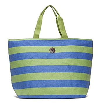a9b5c2686888 Cappelli Straworld Extra Large Toyo Striped Beach Town Tote Bag (Green &  Blue)
