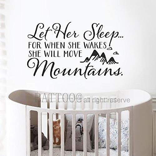 BATTOO Wall Decal Kids Let Her Sleep for When She Wakes She Will Move Mountains Quote Wall Decals Nursery Mountain Wall Decal Scandinavian Wall Decal, 16