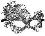 Coolwife Women's Venetian Crochet Ball Lace Masquerade Mask Halloween Retro Fashion Mask (Swan Silver Black)