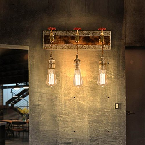 KunMai Vintage Metal Water Pipe Edison Bulb Hanging Indoor Wall Light Sconce Fixture Retro Style (3-Light) (Light Pipe)