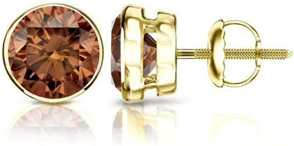 4.00 ct Round Brilliant Cut Brown Diamond Stud Earrings in 18K 750 Yellow Gold Brilliant Cut Bezel Setting Screw Back