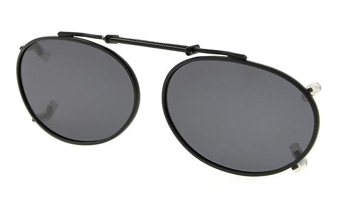 7f27cbe0e3 Eyekepper Metal oval marco borde polarizado lente clip en gafas de sol  49x30mm Gris Lens: Amazon.es: Ropa y accesorios