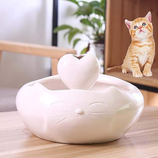 Fuente de cerámica para Gatos Dispensador automático de Agua Inteligente para Mascotas, Toma de Agua en Forma de corazón/Cuenco de Agua Ultra silencioso para Gatos y Perros, Blanco: Amazon.es: Productos para mascotas
