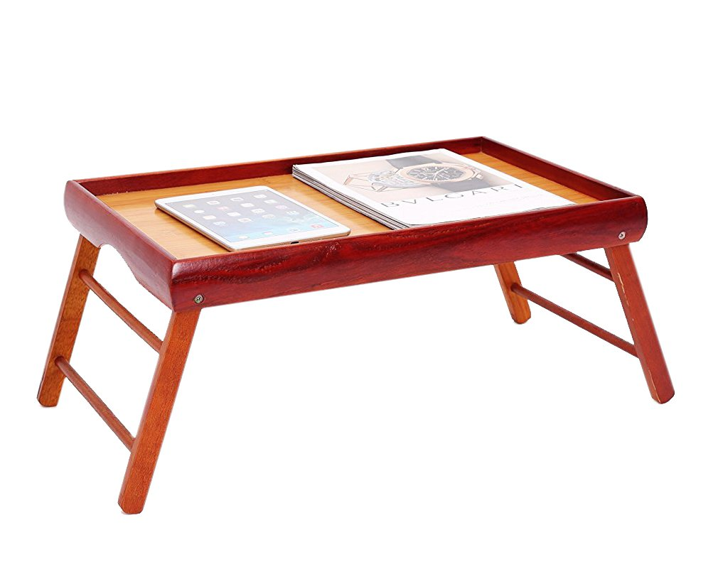 Dinner Tray - Wooden Breakfast in Bed Foldable Portable Serving TV Table with Stand - 20.5 '' by Juvale (Image #4)