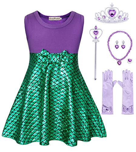 HenzWorld Little Mermaid Ariel Costume Dresses Bowknot Girls Princess Birthday Party Sleeveless Outfit Dress Up Jewelry Accessories Set -