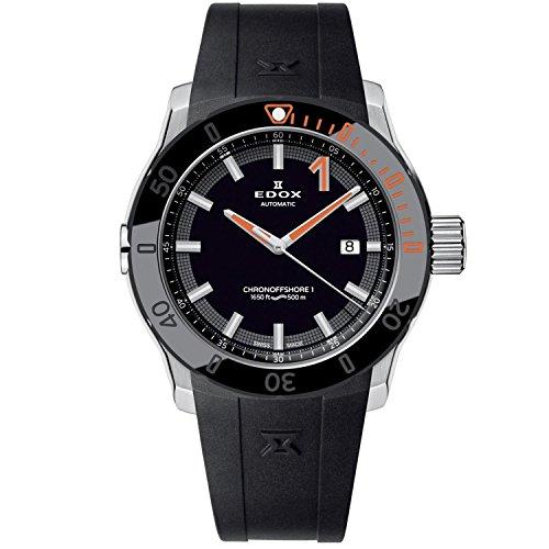 Edox Men s CO-1 43mm Black Rubber Band Steel Case Sapphire Crystal Automatic Analog Watch 80099 3O NINO