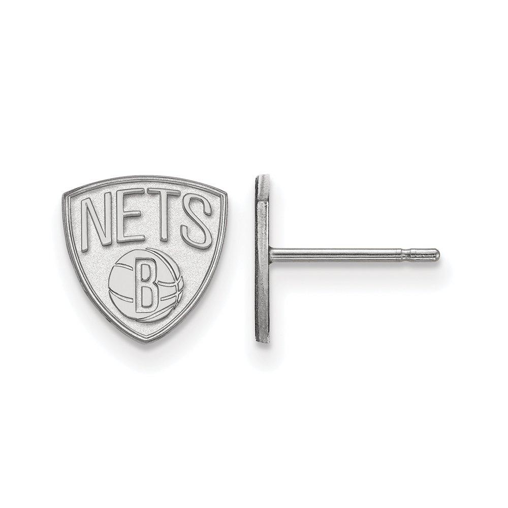 NBA Brooklyn Nets X-Small Post Earrings in Sterling Silver