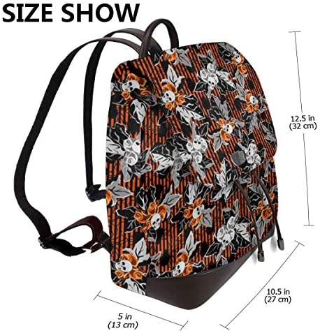 zaino da donna in pelle Flower Skull Women Backpack Leather Backpack For Women Ladies Shoulder Bags Schoolbag Casual Daypack Backpack For Girls Fashion PU Travel bags