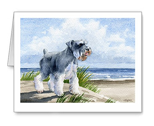 Miniature Schnauzer At The Beach - Set of 10 Note Cards With Envelopes