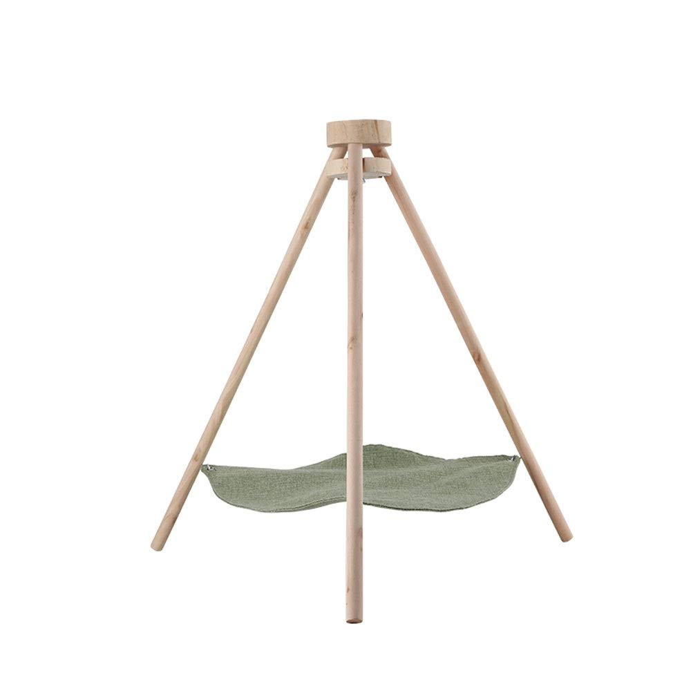 Green Xuoo Wood Tripod Cat Hammock Litter Spring Summer Autumn and Winter Seasons Universal Day Breathable Swing Mat Washable Pet Supplies bluee Green Beige Purple (color   Green)