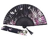"""Amajiji 8.27""""(21cm) Chinese Vintage Retro Style Hand Held Folding Fans or Girls Women (Black)"""