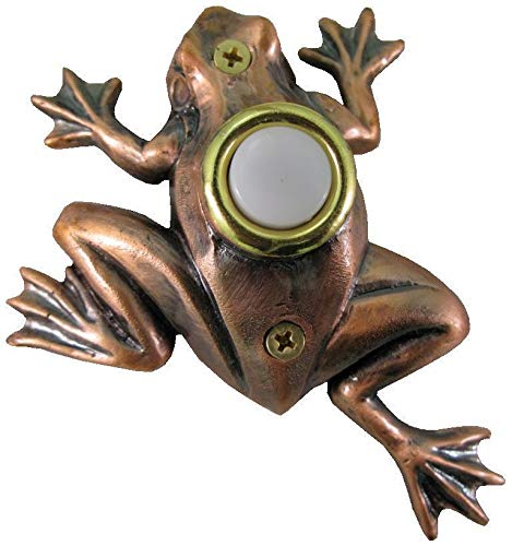 Surface Mount Push Button Doorbell Bronze Plated Frog Poly-Resin - Frog Chime Button