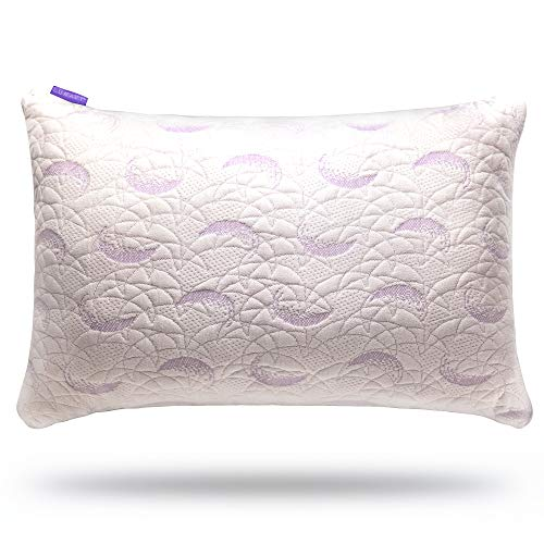LUNAVY Adjustable Fit Shredded Memory Foam Pillow US Certipur Certified, Washable Bamboo Cover, Queen Size 1 pcs