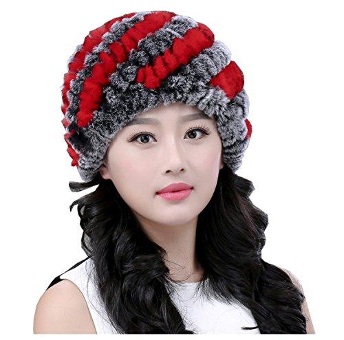 Chapka Luxe Chaud rouge Gris Souple Bonnet Elégant Fille Tricot Ahatech Femme Hiver Z4wxRqFE