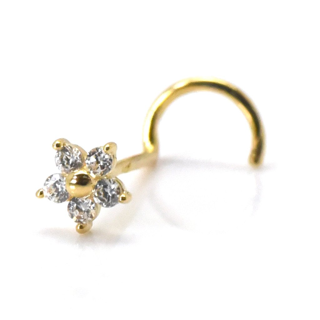 Nose Piercing Stud 3mm Flower with Cubic Zirconia 14k Gold Screw Twist Cartilage Jewelry