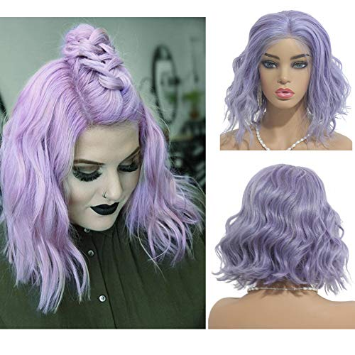 Loviness Glueless Body Wave Bob Wig Human Hair Wigs Lace Front Pre Plucked 180% Density 13X4 Lace Frontal Bleached Knot Cosplay Wigs Lilac 8 inches ()