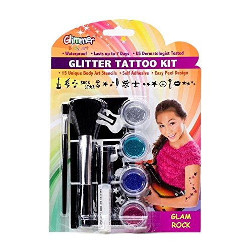 Glitter Tattoo Glam Rock Kit (Waterproof Temporary Glitter Tattoo Kit with 15 Self Adhesive Stencils, Glam Rock)