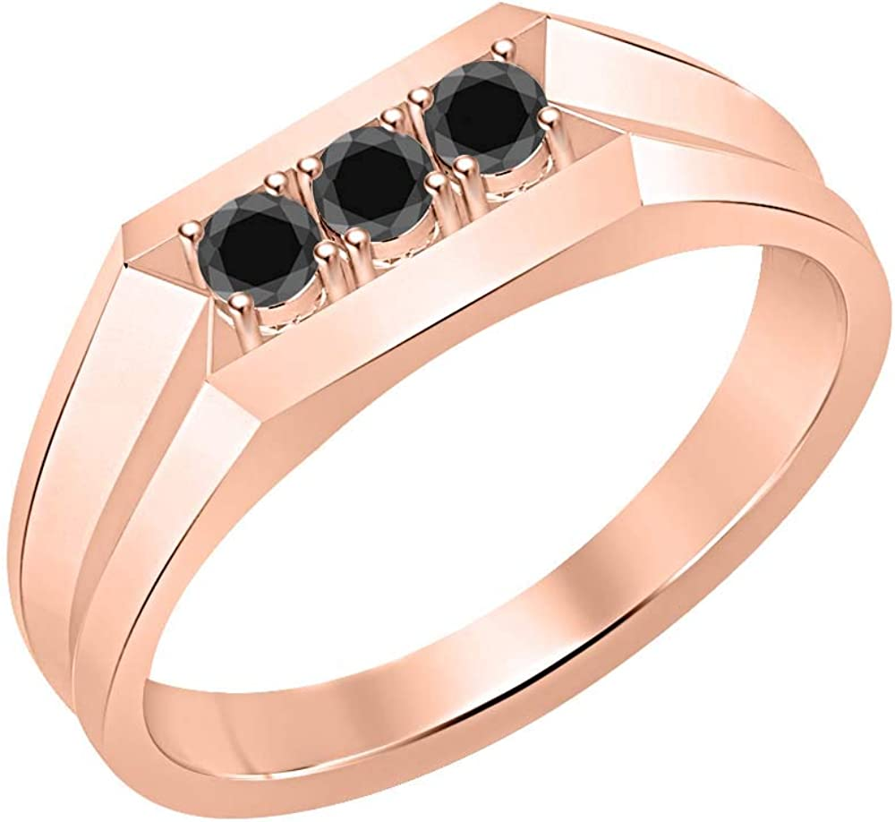 RUDRAFASHION 14k Rose Gold Plated Round Cut Black CZ Diamond 925 Sterling Silver Mens Anniversary Band Ring