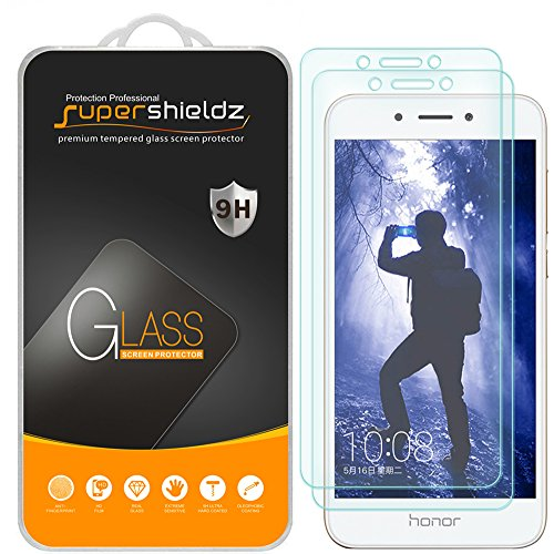 [2-Pack] Supershieldz for Huawei Honor 6A Tempered Glass Screen Protector, Anti-Scratch, Anti-Fingerprint, Bubble Free, Lifetime Replacement Warranty