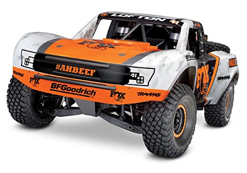 (Traxxas Unlimited Desert Racer 4X4 RC Race Truck, White, Orange)