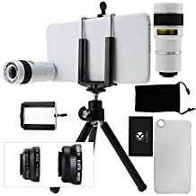 CamKix Camera Lens Kit for iPhone 6 Plus / 6S Plus including an 8x Telephoto Lens / Fisheye Lens / 2in1 Macro and Wide Angle Lens / Tripod / Phone Holder / Hard Case / Velvet Bag / Cleaning Cloth (White)