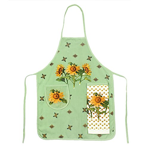 Apron Sunflower - new 100% Cotton Sleeveless Apron with Hand Towel Kitchen Apron Pocket Body Overclothes for Woman Kitchen Cooking Tools