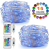 color schemes for bedrooms LED String Lights, 2 Set Multi Color Changing Fairy Lights USB Plug-in Lights Remote & Timer, 4 Modes Indoor Decorative Silver Wire Lights Bedroom Party Halloween Xmas (16ft, 16 Colors, 50 LEDs)