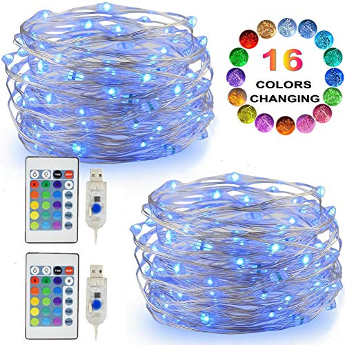 LED String Lights, 2 Set Multi Color Changing Fairy Lights USB Plug-in Lights Remote & Timer, 4 Modes Indoor Decorative Silver Wire Lights Bedroom Party Halloween Xmas (16ft, 16 Colors, 50 LEDs)