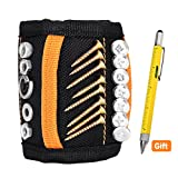 Magnetic Wristband+5 Multi-function Pen, 15 Strong Magnets Adjustable Wrist Strap for Holding Screws,Nails, Drill Bits,Hammer,Tools - Unique Tool Gift for Father's Day, DIY Handyman, Father/Husband