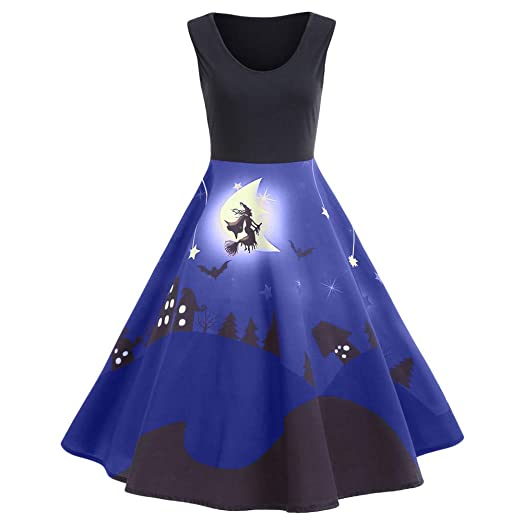 Womens Sleeveless Vintage Halloween Witches Print Ball Gown Swing Dress Party Skater Dress(Blue,
