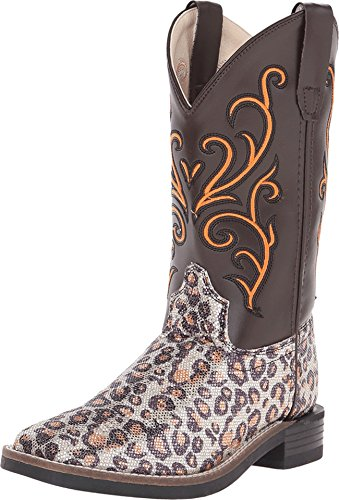 Old West Girls' Leopard Print Western Boot Square Toe Leopard 11.5 D(M) US