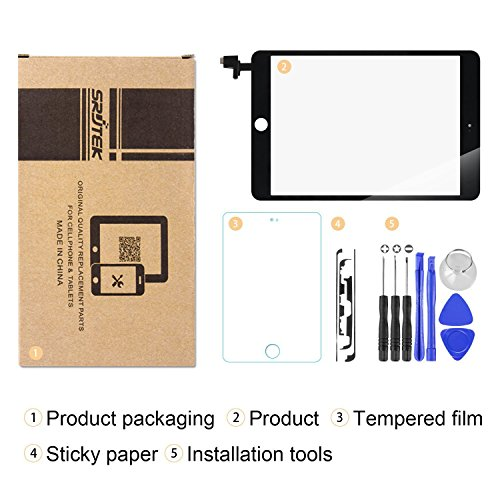 Srjtek Screen Replacement for IPad Mini 3 Touch Screen Digitizer A1599 A1600,Replacement Parts with IC Chip and Camera Holder(Black) by srjtek (Image #4)