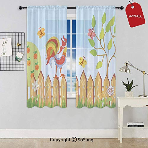 Border with Rooster Tree and Flowers in Summer Kids Cartoon Print Rod Pocket Sheer Voile Window Curtain Panels for Kids Room,Kitchen,Living Room & Bedroom,2 Panels,Each 52x54 Inch,Multi