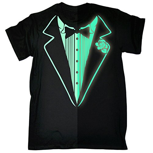 [Glow In The Dark Tuxedo T-Shirt Prom Tee Luminous Fancy Dress Tux Top Party Costume (M - BLACK)] (Womens Tuxedo Costumes Tshirt)