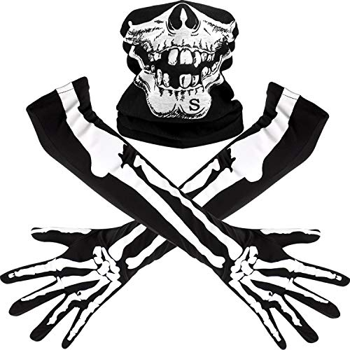 Halloween Half Skull (Tatuo White Skeleton Long Gloves and Skull Face Mask Half Ghost Bones Cosplay Costumes for Adult Halloween Dance Costume Party (1 Set, Style)